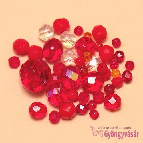 Piros vegyes cseh csiszolt gyöngy (10 g) • Gyöngyvásár.hu