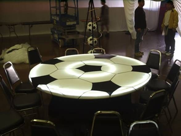 soccer banquet tables boys tables Parents black and white linen  or white linen with black centerpieces