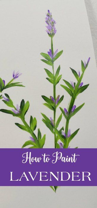 How to Paint Lavender, easy painting lesson that even beginners can do. Enjoy the lavender tutorial one stroke at a time. Painted in acrylics.