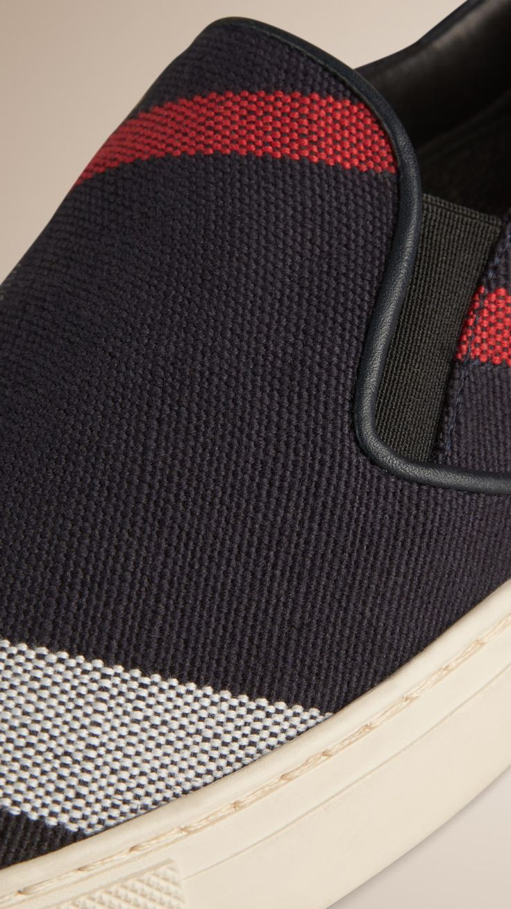 Exploded Check Jute Cotton Slip-on Trainers | Burberry