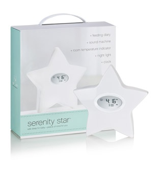 Serenity Star is a multi-tasking must for every nursery and baby. Serenity Star is a multipurpose sleep system that includes a room temperature indicator, a night light, a sound machine with four soothing sounds, and an electronic feeding diary -- all housed in one fashionable and modern design!  Available in Dubai on Babysouk.com and costs Dhs 425.