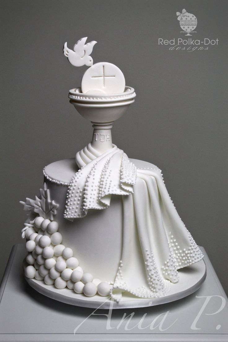First Holy Communion cake by Red Polka-dot Designs https://www.facebook.com/redpolkadotdesigns