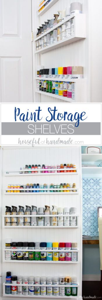 Create the perfect DIY paint storage from scraps or cheap wood. The paint storage shelves can even be hung in closets or behind doors to free up even more space. Housefulofhandamde.com   $100 Room Challenge   Spray Paint Storage   Craft Paint Storage   Craft Room Organization   Scrap Wood Build Plans   Free Build Plans   DIY Storage Solutions   Craft Room Makeover   Office Makeover
