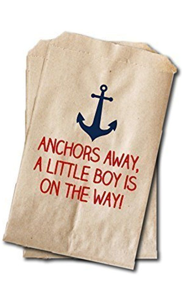 "Nautical Candy Bags - Boys Baby Shower Favor Bags - 6.25"" x 9.25"" - Red & Navy (20 pack) Best Price"