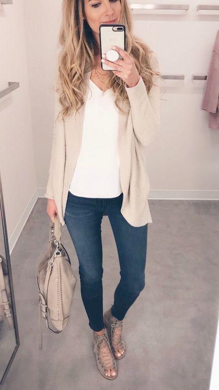 a29e338e4288 Spring Outfit Round Up - White Tee/Cardigan on Pinteresting Plans fashion  blog #tancardigan #springoutfit