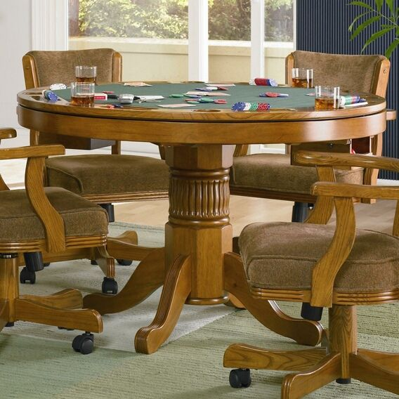 "5 pc oak finish wood game dining poker table. This set features and oak finish wood dining table with flip top poker felt cover top with cup holders and chip trays. Table measures 48"" Dia. x 30"" H. Chairs measure 23"" x 25"" x 33"" H. Some assembly required. Chairs are not Gas Lift operated."