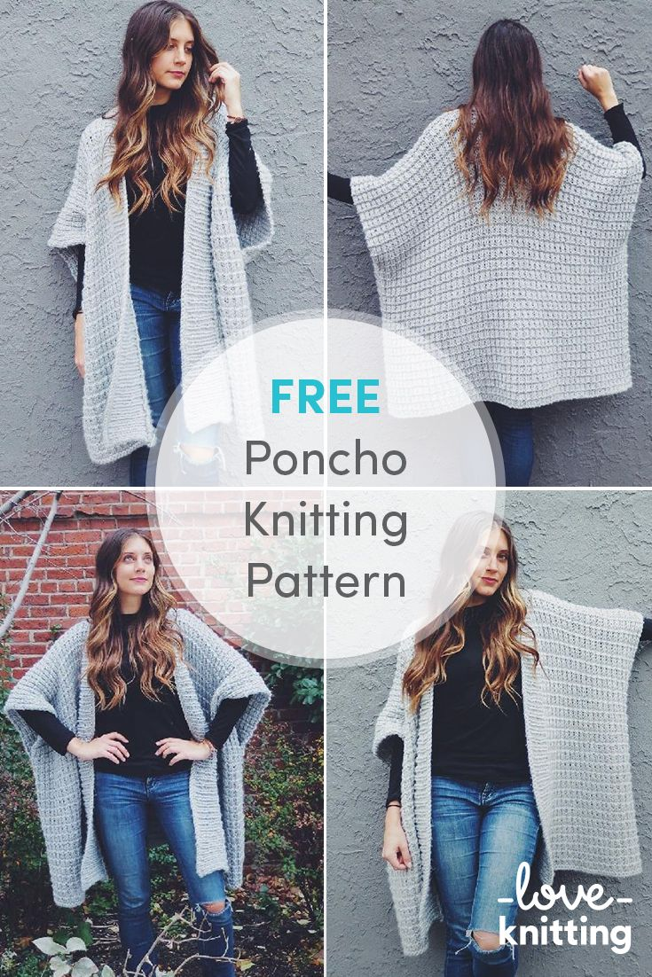 FREE Poncho Knitting Pattern. Cloak yourself in the snuggliest poncho on Earth! The wide rib collar adds extra warmth to the neck and the thermal stitch makes the entire thing extra warm and squishy. Find the free pattern on LoveCrochet.com!