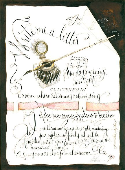 I love her style where the ribbon and writing are dimensional and weave in and out of other objects. Drool!