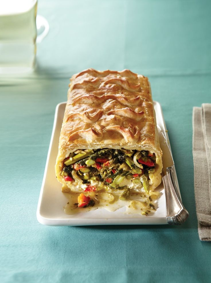 Vegetables Wellington Redux Recipe | Vegetarian Times-  I'm not a fan of goat cheese so tried some other substitutes.  I read advice to sub in cream cheese but it didn't really work perfectly.  I subbed ricotta cheese for a second batch and that was a lot better.