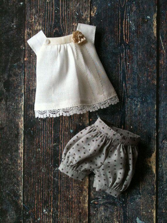 Moshimoshi studio - Puffball shorts set for Blythe - grey polka dot