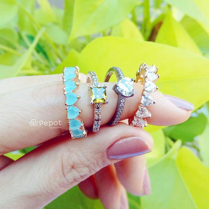 Diversos modelos de anéis com pedras de zircônia em nossa loja http://pepot.com.br venha conferir  #aneis #moda #bijuteria