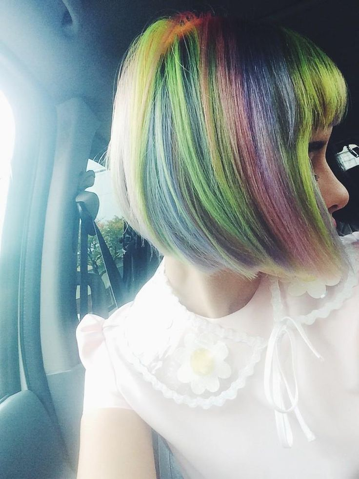 rainbow bangs short pastel hair GOALS AF RIGHT? RIGHT