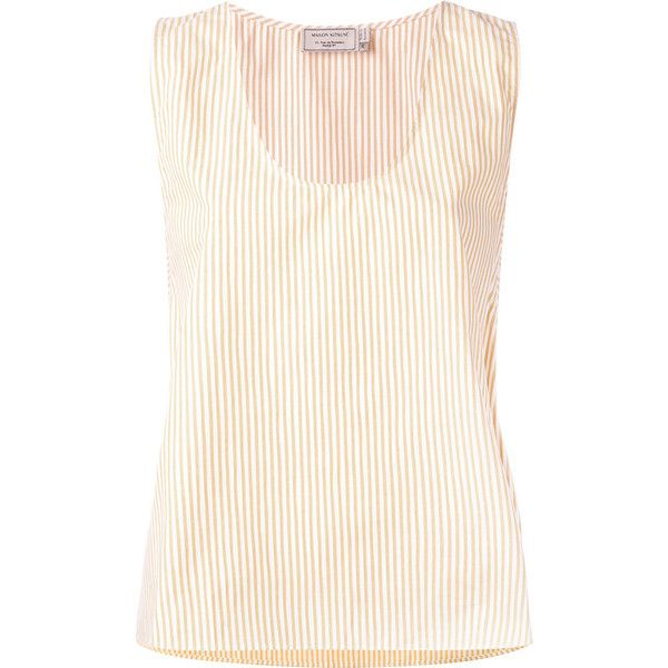 Maison Kitsuné June side-strap top ($140) ❤ liked on Polyvore featuring tops, yellow, stripe top, white strappy top, no sleeve tops, striped sleeveless top and strappy top