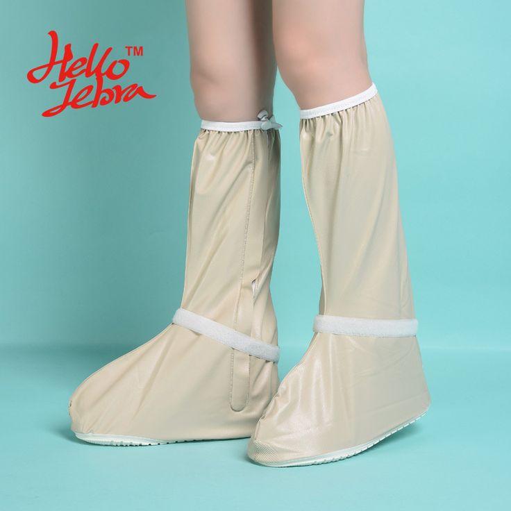 Hellozebra Women Rain Shoes Covers Long Solid Mid-Calf Boot Waterproof Casual Antifouling Shoe Platform Rain Boots 2016 Design