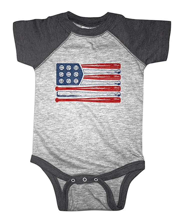 Another great find on #zulily! Heather Smoke Baseball Flag Raglan Bodysuit - Infant by American Classics #zulilyfinds