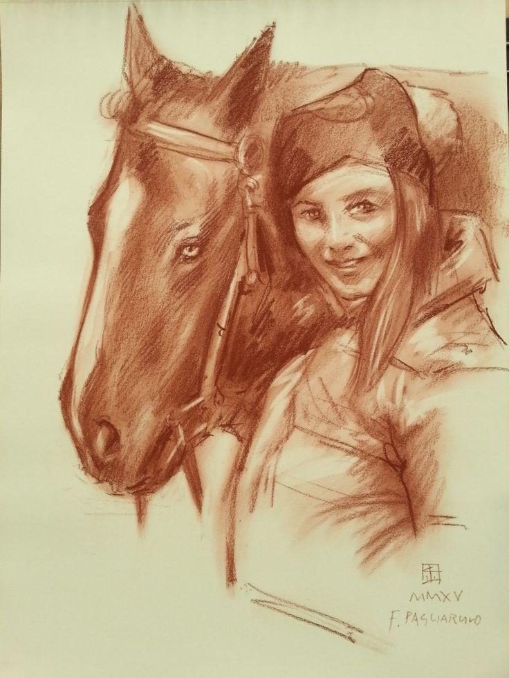 Ritratto con cavallo | Altamiradecor, bottega d'arte di Franco Pagliarulo