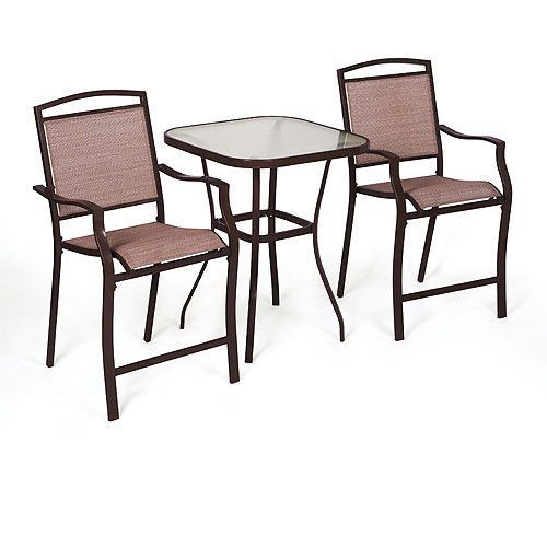 Outdoor Bistro Set 2 Seats 1 Table Bar Height Armchairs Steel Glass Table  #Mainstays