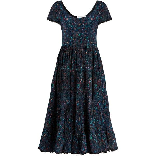 Athena Procopiou Midnight's Love romantic silk dress (1.900 BRL) ❤ liked on Polyvore featuring dresses, blue multi, pom pom dress, floral pattern dress, blue silk dress, print dresses and floral dresses