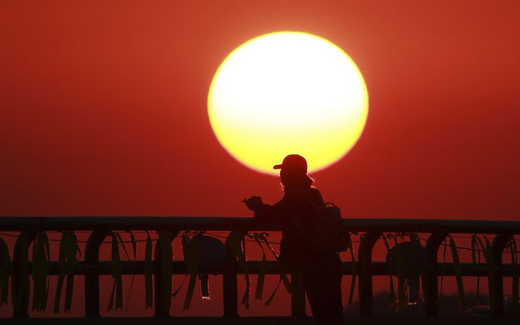 May 2014 - Jindo, Corea del Sud Un parente di una delle vittime del traghetto Sewol, affondato lo scorso 16 aprile al largo delle coste meridionali della penisola coreana, prega al tramonto nel porto di Jindo, a sud di Seul, Corea del Sud