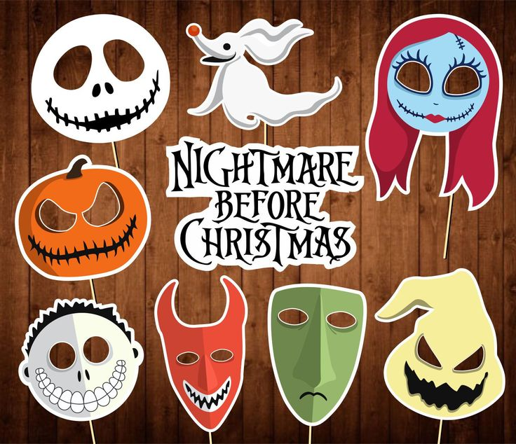 The Nightmare Before Christmas Photo Booth Props - Printable PDF - Halloween Photo Props - INSTANT DOWNLOAD by PartyPropsStore on Etsy https://www.etsy.com/listing/545838742/the-nightmare-before-christmas-photo