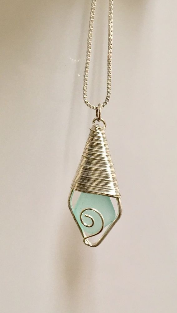 Handmade Blue Sea Glass Necklace wire Wrapped on sterling silver chain #Handmade #Pendant