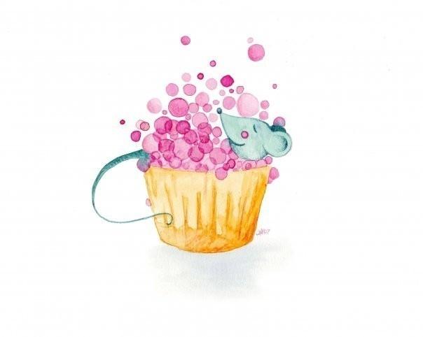 Watercolour Bathroom Artwork Cupcake Bubble Bath by jellybeans