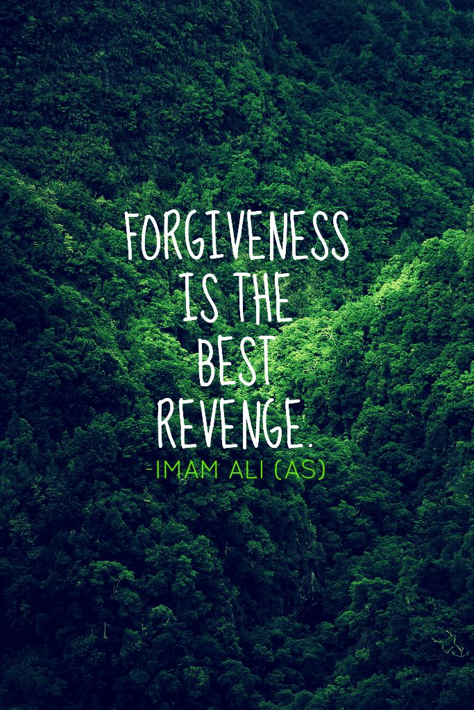 FORGIVENESS IS THE BEST REVENGE. -Imam Ali (AS)