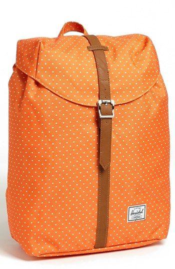 Orange polka dot backpack.