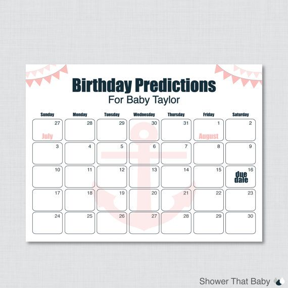 baby birthday predictions printable nautical baby shower calendar