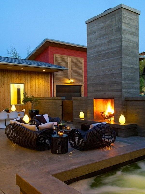 Modern patio deck outdoor fireplace lighting 1