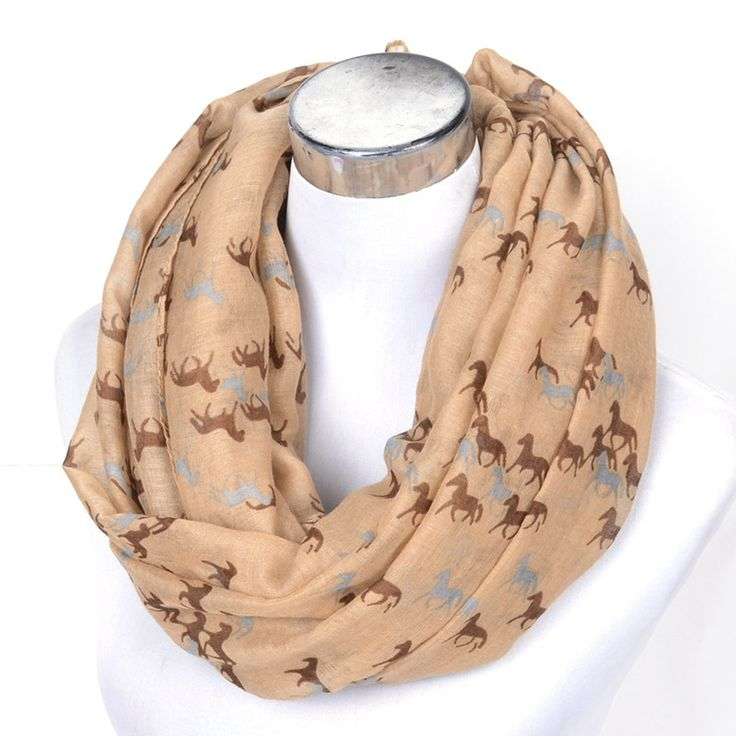 2016 New Fashion Horse Scarf Snood Loop Animal Print Ring Scarves Small Horse Shawls in Beige Grey Loop Scarf Horse Tan Shawls