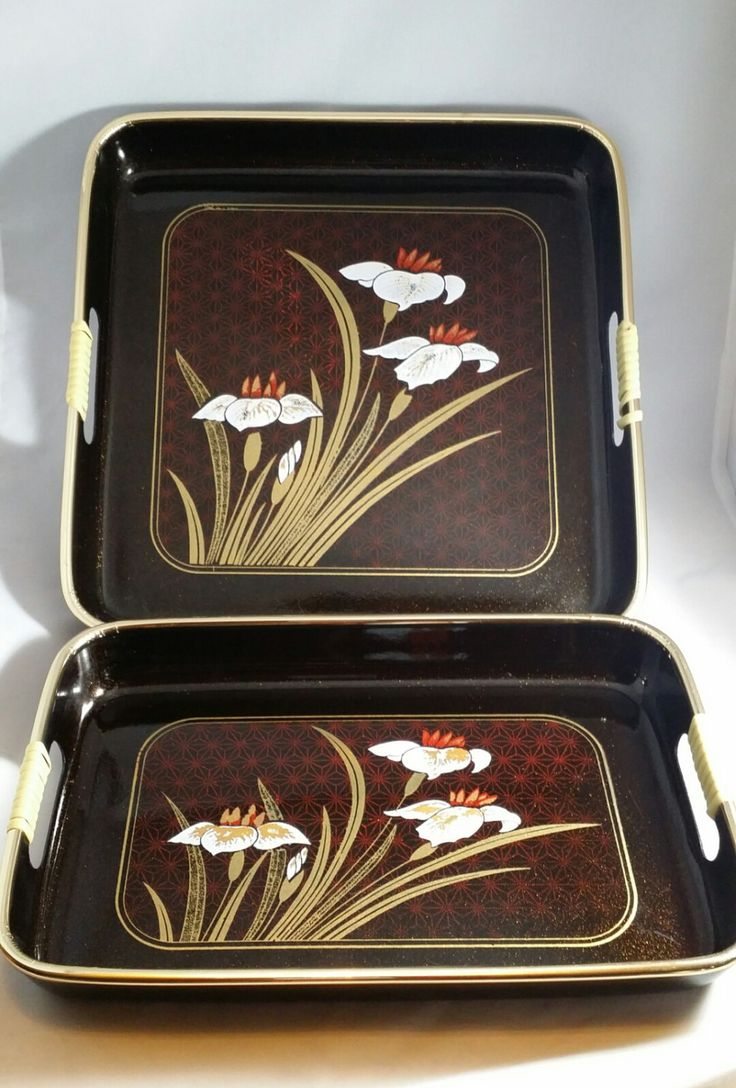 Vintage Japanese serving trays, Japanese serving trays, Vintage trays, set of 3 Japanese trays, Asian serving trays, Decorative trays by PickyVintagePicks on Etsy