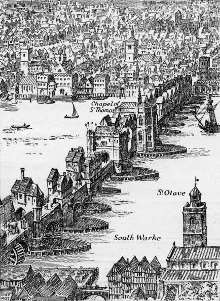 Old London Bridge Elizabethan drawing                                                                                                                                                     More