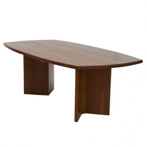 Naturally Timber 'Metropolis' dining table - boat-shape, River Red Gum, three-quarter view