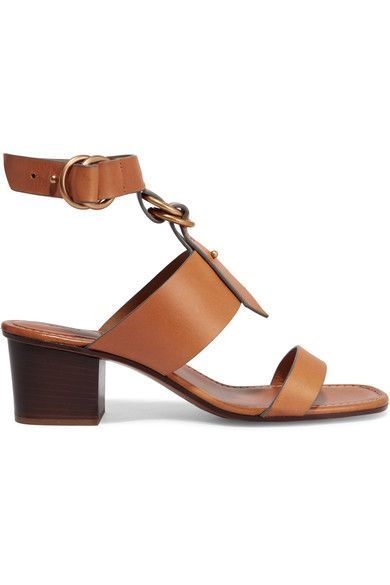 Heel measures approximately 50mm/ 2 inches Tan leather Buckle-fastening ankle strap Designer color: Cognac Brown Made in Italy