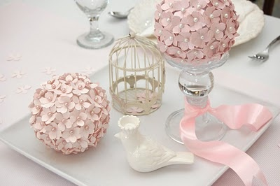 pomander balls-- paper flowers, bouteniere pins with pearl ends) and foam ball in the middle