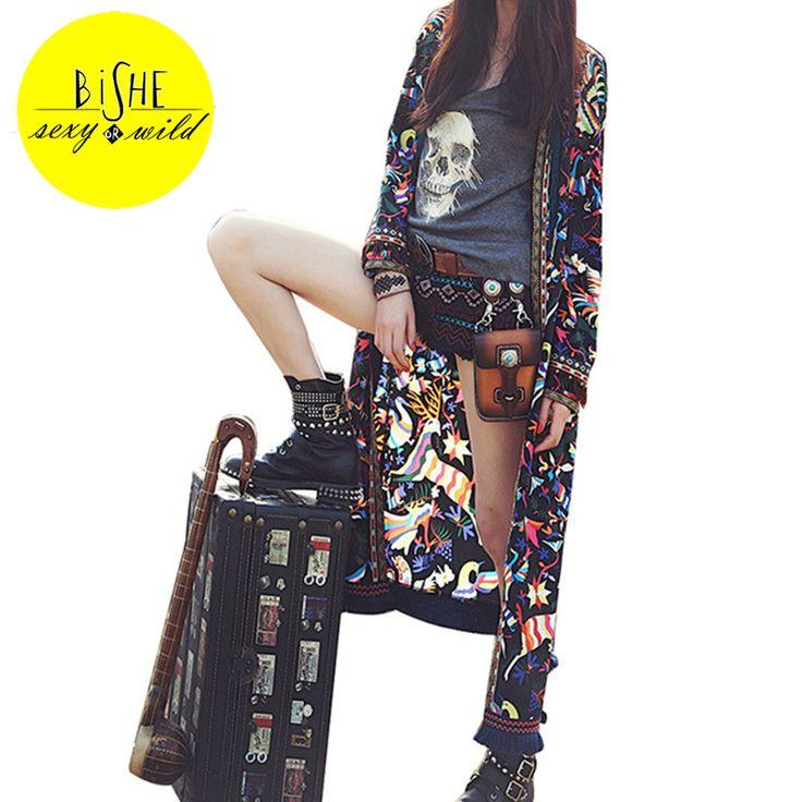 ==> [Free Shipping] Buy Best BiSHE Vintage Tribal Tassels Print Kimono Cardigan Fashion Women Tops Long Chiffon Shirt Blouse Roupas Femininas Summer Kimono Online with LOWEST Price | 32813388193