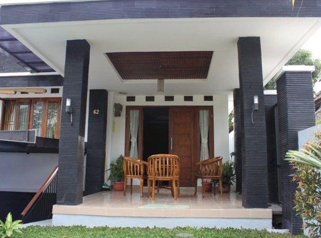 Teras rumah minimalis kombinasi batu alam