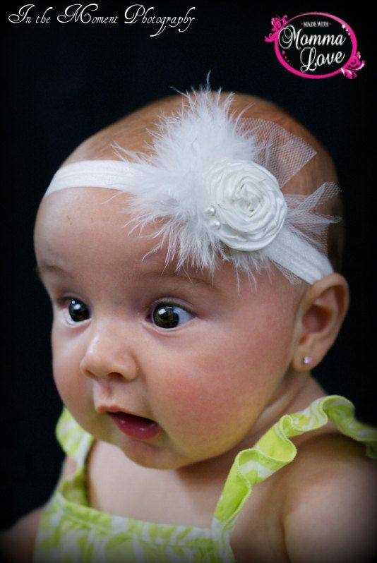 Pure White Rosette Headband by MadewithMommaLove on Etsy, $8.50