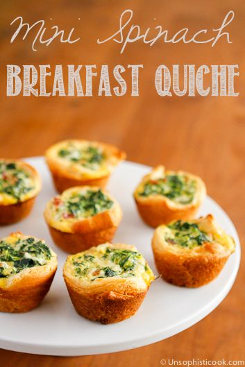 Mini Spinach Quiche -- these cute little mini quiche filled with spinach and bacon are a delicious and filling brunch idea!