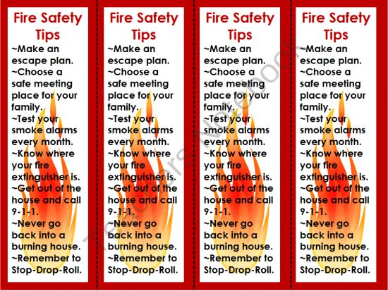 National fire prevention week bookmarks safety tips for Fire prevention tips for home