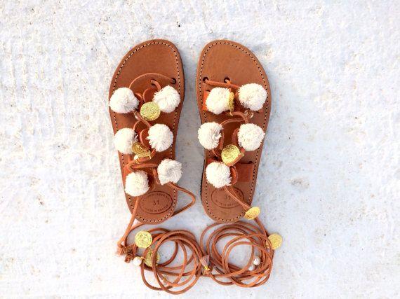 white pom pom /handmade gladietor sandals/greek sandals/white