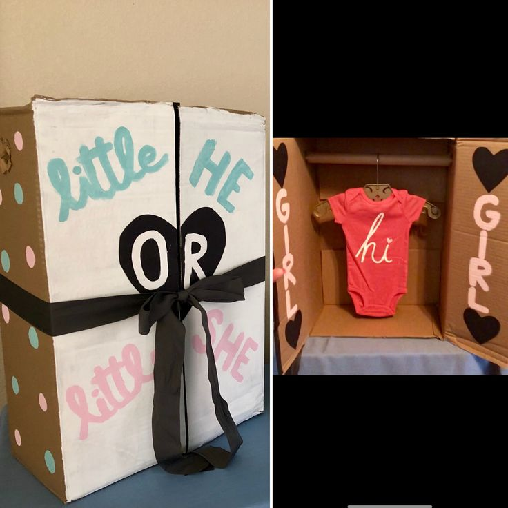 Creative Gender Reveal Idea – Cardboard Closet with baby girl or boy outfit insi…