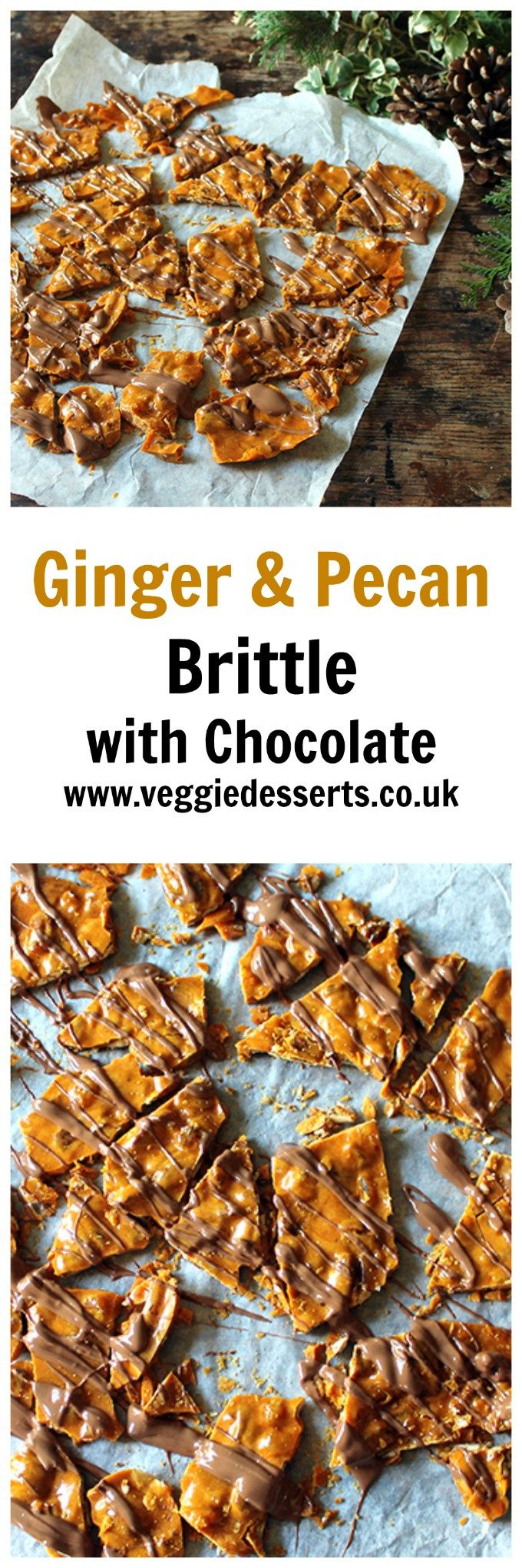 Ginger Pecan Brittle with Chocolate Drizzle | Veggie Desserts Blog by Kate Hackworthy  This Ginger and Pecan Brittle is really easy to make and is perfect to pop into a pretty bag or jar and tie up with ribbon to give as a homemade Christmas gift. The rich, buttery toffee is infused with crystallised ginger and crunchy, perfumed pecans. It's crisp and delicate, and perfect with a liberal drizzle of milk chocolate.