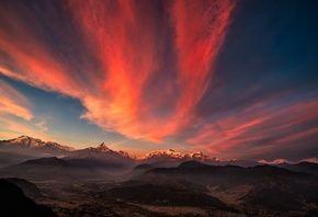Тибет, горы, закат, небо, панорама