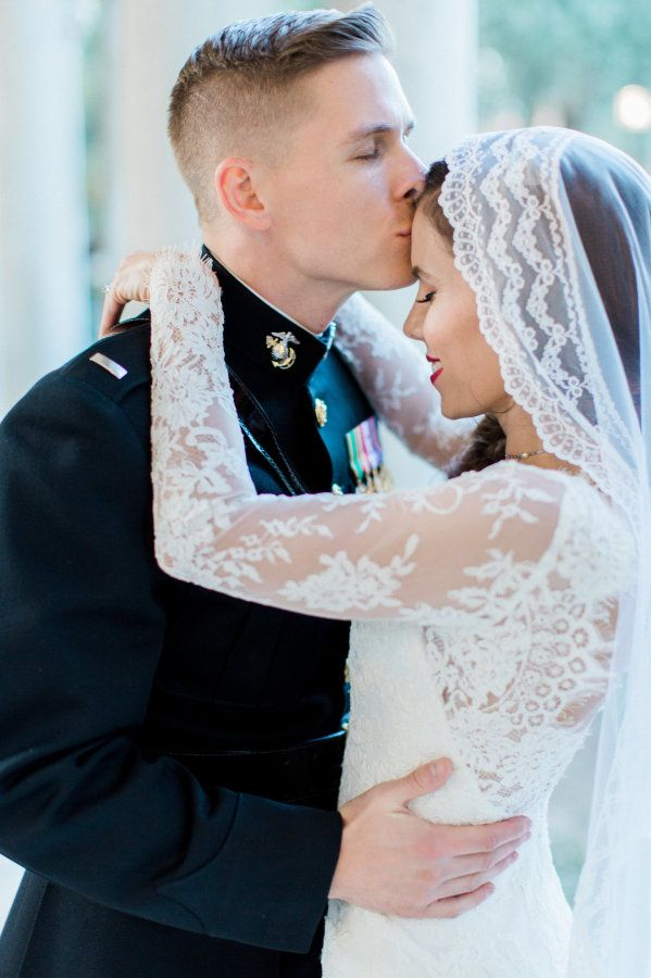 Inspiring Marine bride + groom: http://www.stylemepretty.com/california-weddings/pasadena/2016/05/30/these-marines-winter-wedding-is-the-royal-wedding-2-0/ | Photography:Brett Hickman Photographers - http://bretthickman.com/