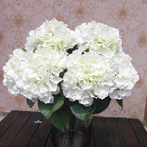 "SoooKu Artificial Hydrangea Flower 5 Big Heads Bounquet (Diameter 7"" each head) 7 Colors Avaliable SoooKu http://www.amazon.com/dp/B00KZGY500/ref=cm_sw_r_pi_dp_Y3a0ub16JM1CV"