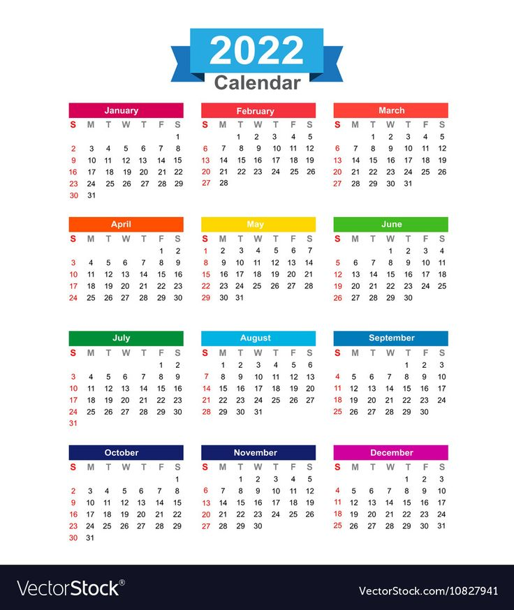 2022 Year calendar isolated on white background vector ...