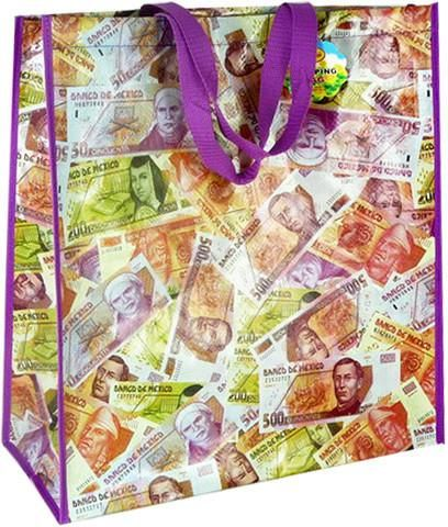 Mexican Peso Shopping Bag with Handle - 96 Units
