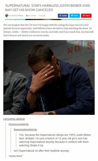 SPN fans supporting Jared Padalecki. This whole thing has just gotten idiotic - someone put the Beliebers back to bed...
